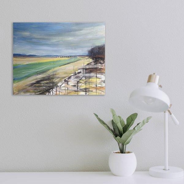 Estuary Viaduct - original mixed media art